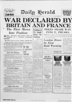 Daily Herald (UK newspaper) - The cover of the Daily Herald detailing the start of the Second World War