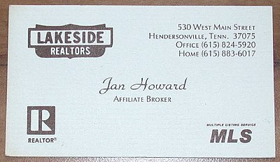 Jan Howard's business card from when she was worked as a real estate agent, late 1970s Jan Howard--Real State Card.jpg