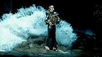 Eine Frau steht auf einem Felsen, gekleidet in ein metallisches Kleid und frisiertes Haar.  Hinter ihr nähert sich eine große Welle, um sie zu verschlingen.