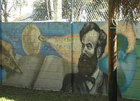 A mural in Tampa, Florida commemorating Verne's From the Earth to the Moon.