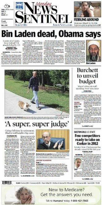 Knoxville News Sentinel - Image: Knoxville News Sentinel front page