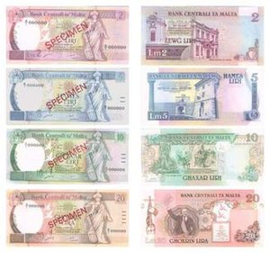 Maltese lira - Image: Maltese banknotes