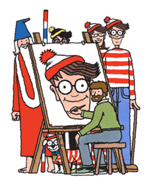 Where's Wally? - Martin Handford with (left to right) Wizard Whitebeard, Woof, Odlaw, Wenda, and Wally
