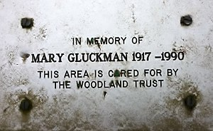Mary Gluckman - Memorial plaque in Hyning Scout Wood
