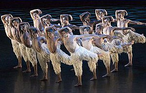 Swan Lake (Bourne) - The company of swans from Matthew Bourne's Swan Lake during the company's 2005 UK tour, featuring danseur Alan Vincent as the lead Swan.