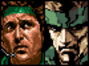 Metal Gear 2: Solid Snake - Snake's portrait in the original MSX2 version (left) and in the re-released version.
