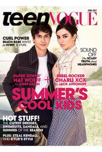 Teen Vogue - Nat Wolff and Charli XCX on the cover of the June/July 2015 issue