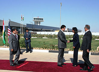Nechirvan Barzani - Nechirvan Barzani Prime Minister of KRG Greets Condoleezza Rice United States Secretary of State at Erbil International Airport, October 6, 2006.