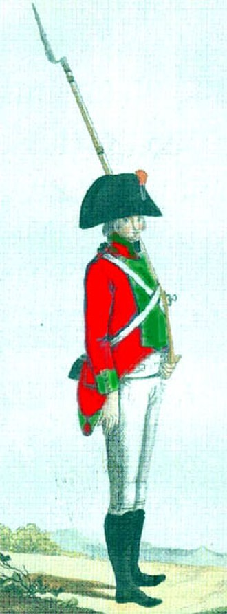 Regiment of Hibernia - Private of the Hibernia Regiment, in typical red jacket and green facings, late 18th century(Bueno Correa 1986)