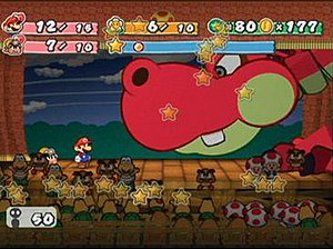Paper Mario: The Thousand-Year Door - Mario and Goombella battle Hooktail, the game's first major boss