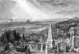 Alphonse Royer - Père Lachaise Cemetery with Paris in the distance