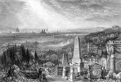 Père Lachaise Cemetery with Paris in the distance