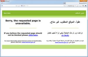 Censorship in Saudi Arabia - An Arabic Wikipedia article regarding evolution blocked in Saudi Arabia