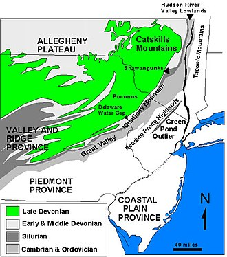 "Kittatinny Mountain - Map of the ""Sedimentary Appalachians"" Province in the New York Bight region including the Valley and Ridge Province and the Allegheny Plateau and the Catskill Mountains"