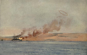 French battleship Suffren - Illustration of Suffren shelling Turkish positions
