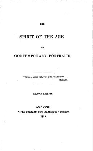The Spirit of the Age - Title page of The Spirit of the Age 2nd London edition