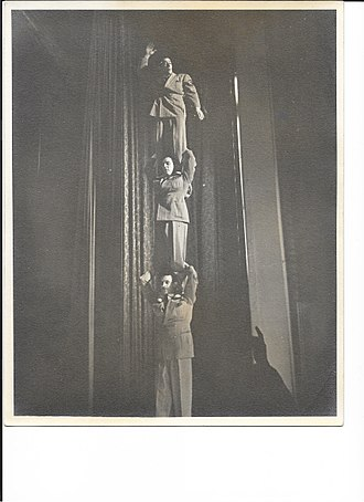 The Three Freshmen (Reid, bottom; Carter, middle; Regan, top), during a performance The Three Freshmen in Performance.jpg