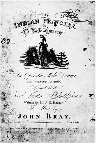The Indian Princess (play) - Title page from original 1808 publication of score