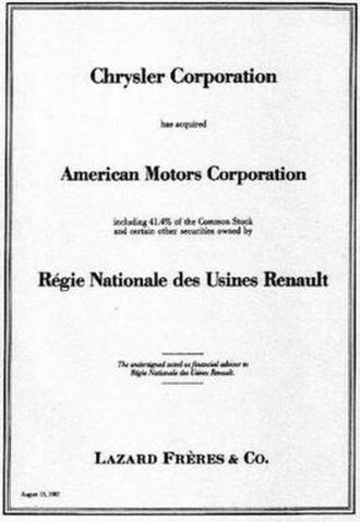 Chrysler - In 1987 Chrysler purchased American Motors from Renault