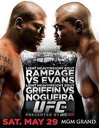 A poster or logo for UFC 114: Rampage vs. Evans.