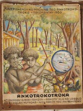 Vazimba - Artist's interpretation of 16th century Vazimba village in highland Madagascar (1978)