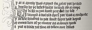 Guillaume de Palerme - Facsimile of the first seven lines of the 14th century English translation of the 12th century French manuscript The Romance of William of Palerne