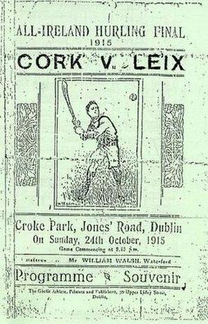 1915 All-Ireland Senior Hurling Championship Final - Image: 1915 All Ireland Senior Hurling Championship Final prog