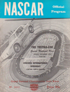 1964 Textile 250 Auto race held at Concord Speedway in 1964