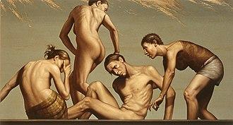 Aleksander Balos - Acceptance, oil painting on linen, 36 x 66 inch by Aleksander Balos