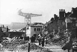 Barrow Blitz - Damage caused by bombing during 1941 on Newland Street looking towards Hindpool Road.