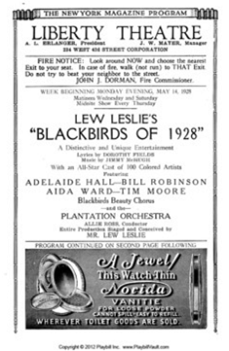 Blackbirds of 1928 - Title page of Broadway program