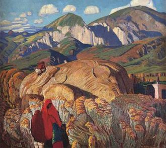 Ernest L. Blumenschein - Haystack, Taos Valley, before 1927. Oil on canvas. Museum of Art, University of Oklahoma