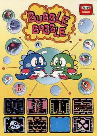 Bubble Bobble - Promotional US flyer for the original arcade iteration of Bubble Bobble