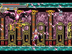 Castlevania: Harmony of Dissonance - In this screenshot, the player character (center) casts a magical attack by combining the dagger and the Summoning Tome.