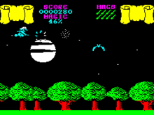 Horizontal rectangle video game screenshot that is a digital representation of a forest. A witch flies on a broomstick in the top left corner above trees while bats flap their wings in her path.