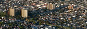 Collingwood, Victoria - Aerial view of Collingwood looking south west toward Victoria Parade; Hoddle Street (left) and Smith Street on (top right)