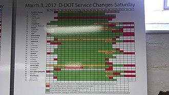 Detroit Department of Transportation - Image: Detroit DOT Saturdday Sched Chgs 2012 03 04