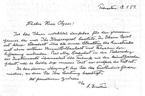 Manfred Clynes - Letter from Einstein
