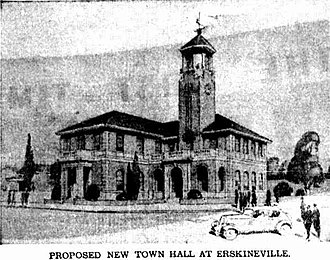 "Erskineville Town Hall - ""Proposed New Town Hall At Erskineville"", as it appeared in the Sydney Morning Herald on 1 December 1936."