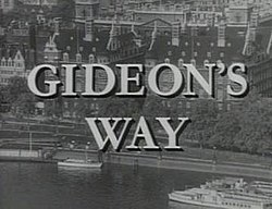 Alt=Gideons Way titles superimposed over an aerial photo of Scotland Yard