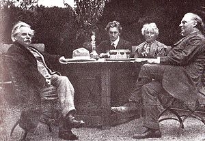 "Julius Röntgen - Röntgen (right), with  Edvard Grieg (left of picture) Percy Grainger, and Nina Grieg, at ""Troldhaugen"", July 1907."