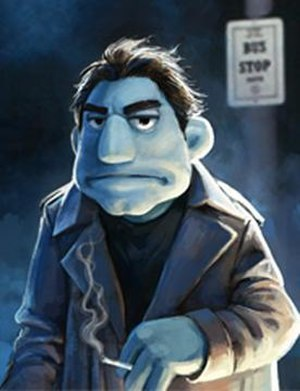 The Happytime Murders - Concept art depicting Phil, the grizzled central puppet character
