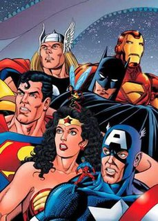 <i>JLA/Avengers</i> Crossover published in prestige format by DC Comics and Marvel Comics and its not cannon