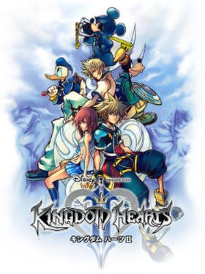 Kingdom Hearts II - North American cover art, featuring the characters Sora, Donald Duck, Goofy, King Mickey, Riku, Kairi, Roxas and DiZ
