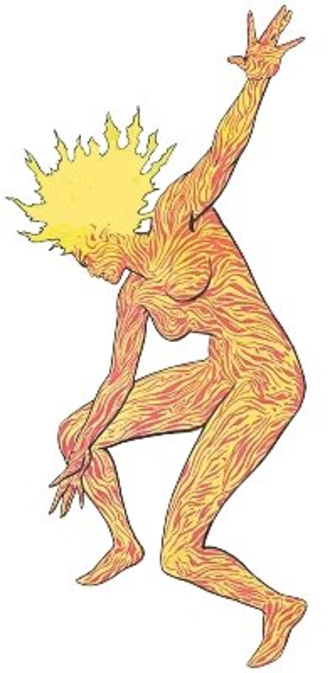 Magma (comics) - Magma, when fully lit.