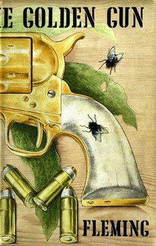 A book cover, showing a drawing of the handle of a pistol, four bullets and two flies