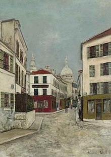 Maurice Utrillo - 'La Rue Norvins à Montmartre', oil on board painting, c. 1910.jpg