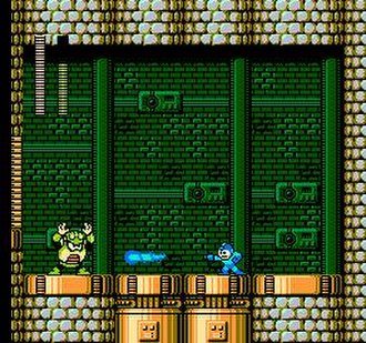 Mega Man 4 - Mega Man fires a Mega Buster blast at Toad Man. Holding down the firing button charges the arm cannon to release a powerful shot.