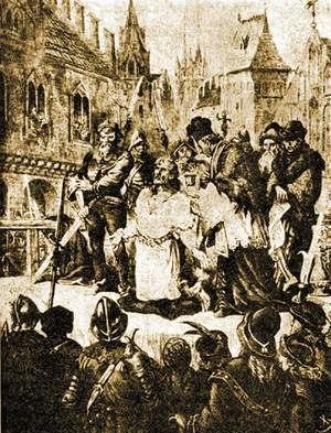 Nicholas II of Niemodlin - Nicholas II of Niemodlin execution in the Nysa market on 27 June 1497. Drawing by Juliusz Kossak in the Tygodnik Illustrowany magazine (N°9, 1880).