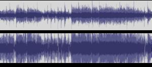 "Californication (album) - Waveform of bootlegged ""unmastered"" version of Otherside (top) versus waveform of original CD release version (bottom), showing difference in volume levels."